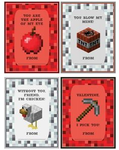 12 free Minecraft printable Valentines from Meet Penny
