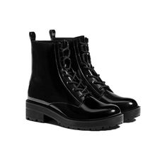 Lace-Up Flat Ankle Boots Bershka $46