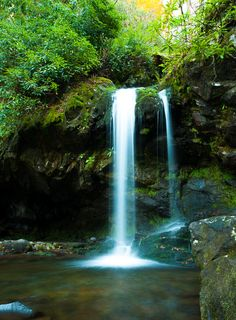 Grotto Falls - This beautiful waterfall is in the Great Smoky Mountains National Park.