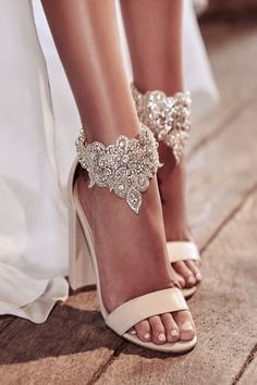 Beautiful jewel encrusted bridal shoes! Eternal Heart: Anna Campbell Wedding Dress Collection #weddingdress