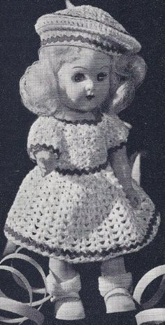 Vintage Crochet PATTERN to make - 8 inch Doll Clothes Dress Beret. NOT a finished item. This is a pattern and/or instructions to make the item only. by Vintage Home Arts, http://www.amazon.com/dp/B004KFPJA2/ref=cm_sw_r_pi_dp_gZnVrb101NPKG