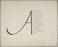 Christopher Wilmarth, American (Sonoma, CA 1943 - 1987 New York, NY). Calligraphy: Sonnet XXXVII (Shakespeare), 1961, (W90) | Harvard Art Museums