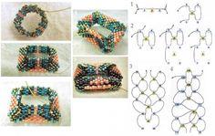 схема плетения квадратиков из бисера