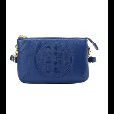 "Tory Burch Crossbody Pebbled leather Perforated T logo at front Golden hardware Removable crossbody strap Zip top closure Inside open pockets, three card slots 4.5""h x 7""w x 2.5""d Tory Burch Bags Crossbody Bags"