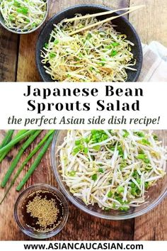 Light and refreshing, quick and easy, this Japanese Bean Sprouts Salad is the perfect side dish. Bean sprouts are tossed with green onions and a sesame soy dressing for a healthy and refreshing salad that's perfect as a side dish or afternoon snack. Healthy Japanese Recipes, Easy Asian Recipes, Side Dish Recipes, Vegetarian Recipes, Healthy Recipes, Bean Sprout Salad, Bean Sprout Recipes, Sprouts Salad, Recipes