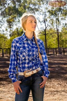 This is our catalogue cover - ladies blue check with over layed paisley print, western snaps, and perfect for riding! Ladies Western Shirts, Ladies Shirts, Catalogue Cover, Blue Check, Check Shirt, Western Wear, Paisley Print, Ruffle Blouse, Lady