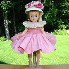 C1958 Cissette Doll in Pink Polished Cotton Dress White Cloche Hat Box from americanbeautydolls on Ruby Lane