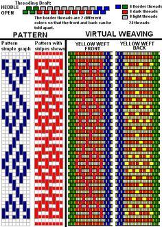 Inkle Weaving Patterns, Bead Loom Patterns, Loom Weaving, Beading Patterns, Jewelry Patterns, Card Weaving, Paper Weaving, Basket Weaving, Tapestry Crochet