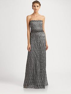 Teri Jon - Strapless Lace Gown - Saks.com@Brittany Barber