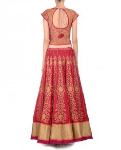 Crimson Red Embroidered Lengha Set