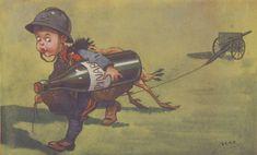 Des #images de #propagande de la Première #Guerre mondiale mettent en scène des #enfants détournant leurs #jeux habituels en communication guerrière - fonds de la guerre 14-18 #WW1 #1GM #numelyo #couleur #color #vert #green