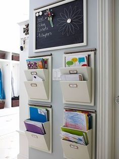 avoid a jumbled mess of mail  school papers by setting up a center for each family member. use the area to corral artwork, forms, magazines, homework assignments, as soon as they enter the house. at each week, go through the contents of each box; discard the old material and file away things to keep.