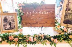 welcome sign garland, wedding table garland, wedding garlands utah flowers calie rose www.calierose.com