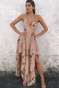 Floral Printing Women Summer Sexy Long Dress Deep V Neck Halter Style Boho Long Maxi Dress Party Beach Dress Floral Sundress Pretty Dresses, Sexy Dresses, Casual Dresses, Fashion Dresses, Summer Dresses, Beach Dresses, Chiffon Dresses, Floral Fashion, Vacation Dresses