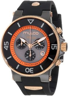MULCO Ilusion Grey Dial Black Chronograph Rubber Unisex Watch