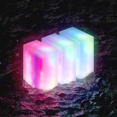 glowing 3d cubes in a dark sea