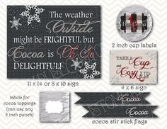 hot cocoa bar printables - instant by BethKruseCC on Etsy Christmas Cup, A Christmas Story, White Christmas, Xmas, Hot Coco Bar, Cocoa Party, Cocoa Cookies, Hot Chocolate Bars, Frozen Party