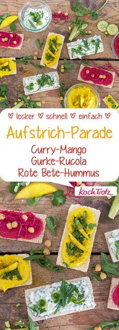 Meine besten Aufstriche! Curry-Mango, Gurke-Rucole- Rote-Bete-Hummus. #aufstrich #rezept #knusperbrot #dip