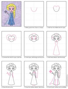 How to draw Elsa. PDF tutorial available. #Elsa #howtodraw