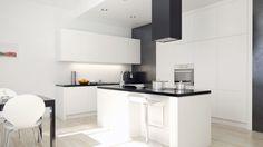 Kuchnia w nowoczesnym stylu z okapem kuchennym Toredo Black 40.3 Eko Max marki GLOBALO