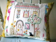 Sweet pillow made by House Wren Studio    I know...it' not redwork, but so pretty