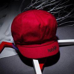 Women Letter Embroidery Octagonal Cap Retro Newsboy Hat - Gchoic.com