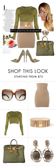 """Untitled #188"" by bisiekemode on Polyvore featuring Tom Ford, SPANX, Topshop, Christian Louboutin, Balmain, Hermès and Lime Crime"