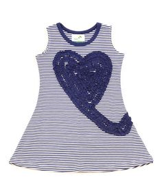 This Navy Heart Swirl Organic Dress - Infant, Toddler & Girls by Nohi Kids is perfect! #zulilyfinds