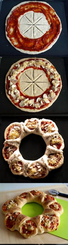 Pizza Korona – Ilaria Cartelli - All Recipes I Love Food, Good Food, Yummy Food, Pizza Recipes, Cooking Recipes, Bread Shaping, Snacks Für Party, Creative Food, Finger Foods