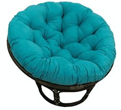 Blazing Needles Solid Microsuede Papasan Cushion (Fits Papasan Frame)- Aqua Blue at Lowe's. Add a touch of style and comfort to your indoor furnishings with this microsuede papasan cushion. This cushion features a classic tufted cushion Papasan Cushion, Papasan Chair, Tufted Chair, Upholstered Chairs, Chair Cushion Covers, Chair Cushions, Outdoor Cushions, Aqua Blue, Indigo Blue