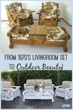 I have seen these living room sets in thrift stores and passed them up.quickly, but I love how this was recycled into a beautiful outdoor furniture set. # refurbished Furniture Set to Outdoor Beauty! Refurbished Furniture, Repurposed Furniture, Painted Furniture, Rustic Furniture, Antique Furniture, 1970s Furniture, Office Furniture, Patio Furniture Makeover, Furniture Layout