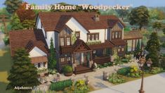 "The Sims 4 Family Home ""Woodpecker"" by isegrimsims Sims 4 Family House, Sims 2 House, Sims 4 House Building, Sims 4 House Design, Village House Design, Home And Family, Sims 3 Mansion, Wooden House Plans, Muebles Sims 4 Cc"