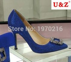 67.32$  Watch here - http://alidds.worldwells.pw/go.php?t=32655385251 - 2016 Rhinestone Square buckle 60mm/80mm middle heels shoes,Real photos Blue/Black glitter 100mm mb01 pumps shoes Wedding Shoes
