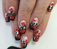 Ombre nails with red flowers.  Inspired by Robin Moses.