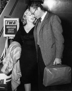 Marilyn Monroe and Arthur Miller departing New York for Los Angeles, where Marilyn attended a banquet held by Fox Studios in honour of Soviet leader, Nikita Khrushchev, September 18th 1959.