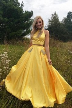 Buy Two Pieces Halter Open Back Yellow Prom Dresses Beads Evening Dresses with Pockets online.Shop short long ombre prom, homecoming, bridesmaid evening dresses at Couture Candy Cocktail party dresses, formal ball gowns in ombre colors. Homecoming Dresses Long, Prom Dresses Two Piece, Cheap Prom Dresses, Sexy Dresses, Long Dresses, Party Dresses, Formal Dresses, Elegant Dresses, Backless Dresses