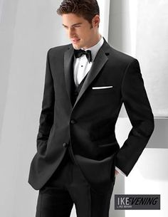 It's all about the fit and the details. Impress your guest with this Ike Behar fitted tuxedo. We work with each customer to make them picture perfect! #Tuexdo #IkeBehar #MenWear #Groom #Wedding #Groomsmen
