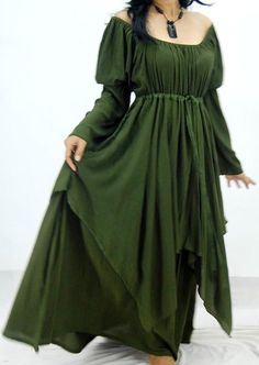 H101 Olive Green/Dress-Peasant-Layer-Renaissance by LOTUSFAMILYINBALI on Etsy.