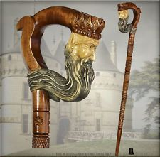 """TOP ART AMAZING CARVED CRAFTER WOODEN WALKING STICK CANE STAFF KING 35, 36, 37"""""""