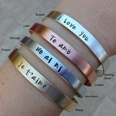 """100 Languages """"I Love You"""" Cuff With Free Personalization Up To Three Initials  $33.00 - 62.00"""