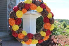 Fall Jute Yarn Wreath/Acorns/Halloween/Thanksgiving/Burlap Flowers/Roses on Etsy, $50.00