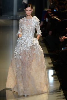 Lace and flowers from Elie Saab Couture Spring 2013