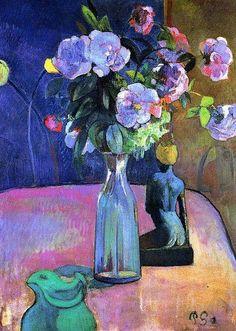 Paul Gauguin - Vaso di fiori con statuetta, 1890.