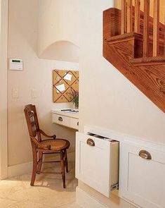 built-in desk under stairs Staircase Storage, Stair Storage, Staircase Ideas, Office Storage, Storage Drawers, Desk Under Stairs, Desk Nook, Desk Space, Small Space Solutions