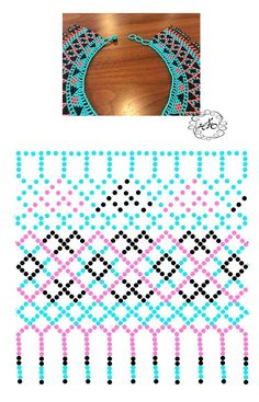 Tina's handicraft : necklace with beads - 9 designs & patterns Diy Necklace Patterns, Beaded Jewelry Patterns, Beading Patterns, Peyote Patterns, Beading Projects, Beading Tutorials, Beaded Collar, Ribbon Design, Loom Beading
