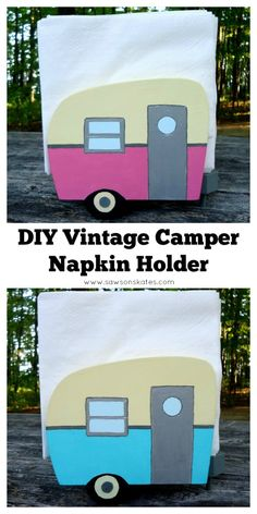 Looking for napkin holder craft ideas? This DIY wooden vintage camper napkin holder is guarnteed to you make you smile! This tutorial shows how to make the holder from scrap wood and paint it with fun, 50's inspired colored craft paints.