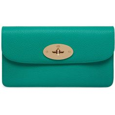 Mulberry Long Locked Purse ($430) ❤ liked on Polyvore featuring bags, wallets, aqua green, blue wallet, blue leather wallet, aqua wallet, turn lock wallet and blue bag