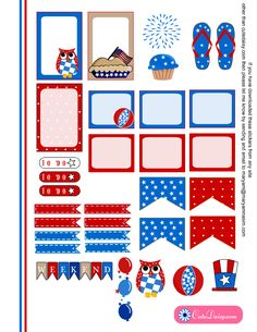 Free Printable 4th of July Stickers for Happy Planner Boxes