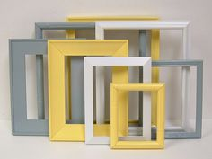 Yellow and Grey Home Decor Picture Frames Modern Wall Decor Gallery Frame Set