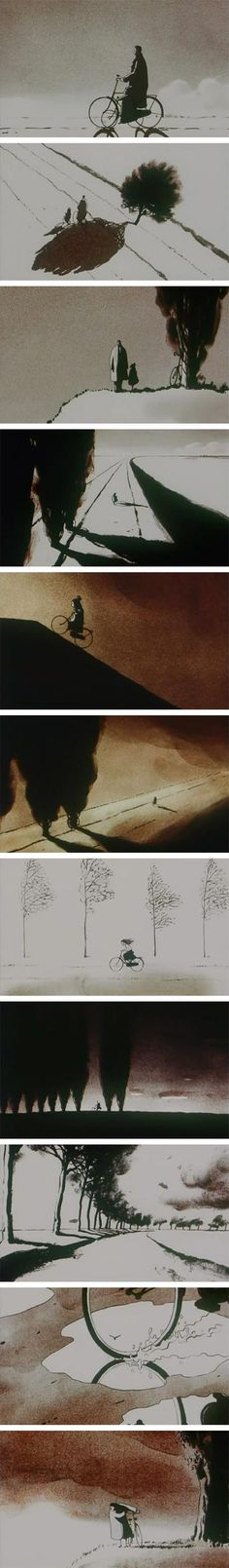 Father and Daughter, Michael Dudok de Wit (minimalist design, softly rendered with touches of monochromatic watercolor, to set a mood perfectly in keeping with its wordless story.